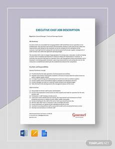 Executive Chef Job Description Sample Free 17 Sample Executive Chef Job Descriptions In Pdf