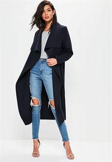 lyst missguided navy oversized sleeve waterfall