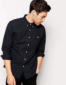 mens oxford shirts sleeve asos brushed oxford shirt in black with sleeves in