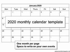 Free 2020 Monthly Calendar Template