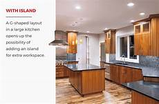 kitchen layout with island g shaped kitchen layouts design tips inspiration