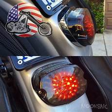 Harley Dyna Light Moons Smoked Low Short Laydown Led Integrated Taillight