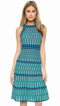 m missoni crochet knit dress in green lyst