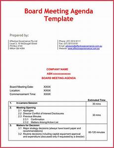 Board Agenda Template How To Create Effective Meeting Agendas 10 Free Templates