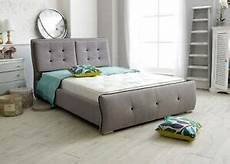 monte carlo 4ft6 grey upholstered luxury fabric bed