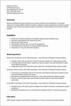 Sample Program Analyst Resume Professional Federal Program Analyst Templates To Showcase