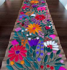 table runner brown color mexican textile made