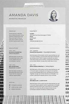 Cv Template Word Download Amanda Resume Cv Template Word Photoshop Indesign