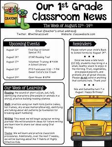 Editable Classroom Newsletter Editable Newsletter Templates Grades 1 2 Ideas