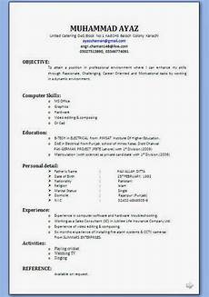Resume Format For Interview Bio Data Form Pdf