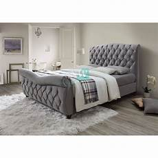 florence bed frame in grey fabric bed