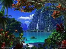 waterfalls and beach lagoon paradise tropical paradise