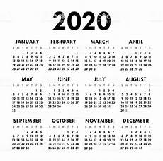 Basic Calendar 2020 Calendar 2020 Year Black And White Vector Template Week