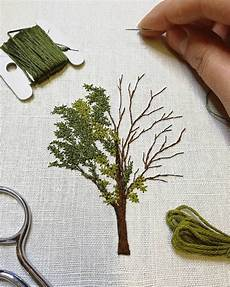 tree embroidery a tiny leaves stitching