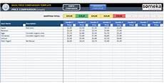 Price Comparison Spreadsheet Template Excel Price Comparison Template Free Cost Comparison
