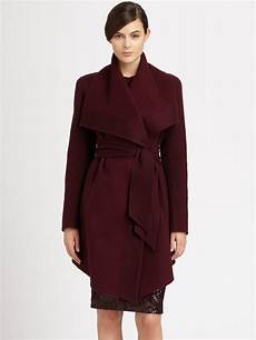 lyst donna karan draped coat in