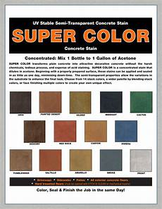 Exterior Color Chart Super Color Uv Stable Semi Transparent Concrete Stain