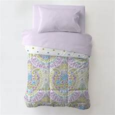 aqua and purple toddler bed comforter carousel