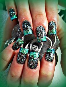 Black And Teal Nail Designs Black And Teal Acrylic Nails Nails Pinterest Teal