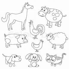 Farm Animal Outlines Cute Cartoon Farm Animals And Birds For Coloring Book