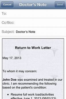 Sample Return To Work Note From Doctor Doctor S Note Iphone And Ipad Medical App Review