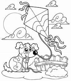 Ausmalbilder Drachen Steigen Kostenlose Malvorlage Natur Hund Beim Drachen Steigen