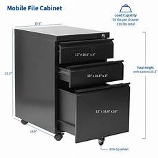 vivo black 3 drawer mobile file cabinet with lock