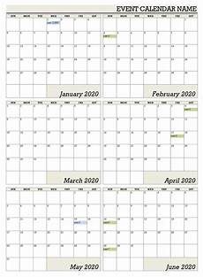 6 Month Calendar On One Page Six Monthly Calendar