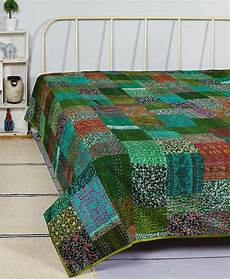 indian patola silk sari print patch work kantha quilt