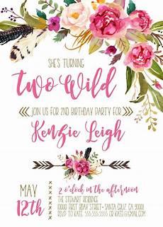Second Birthday Party Invitations Boho Invitations Second Birthday Two Wild Birthday Party