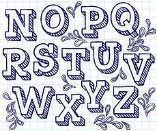 Cool Fonts To Draw On A Poster Hand Drawn Font Shaded Letters And Decorations 29822