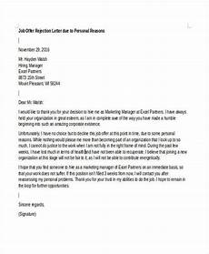Letter To Turn Down A Job Offer Offer Rejection Letters 10 Free Sample Example Format