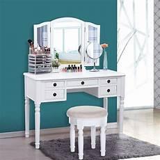 songmics vanity set tri folding mirror make