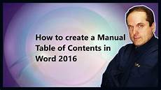Different Types Of Table Of Contents How To Create A Manual Table Of Contents In Word 2016