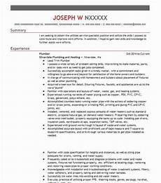 Plumbing Resume Samples Plumber Resume Sample Resumes Misc Livecareer