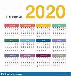 2020 16 Year Calendar Colorful Year 2020 Calendar Horizontal Vector Design