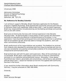 Recommendation Letter Template For Graduate School School Reference Letter Template 7 Free Word Pdf