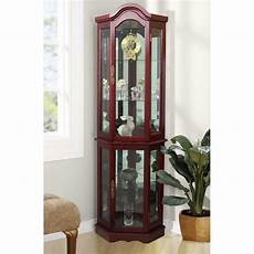 unbranded floor standing cherry 5 sided lighted curio