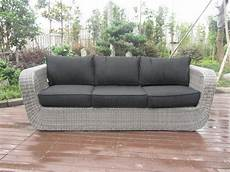 3 seat grey outdoor rattan sofa with power coated aluminum