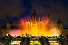 Barcelona Night Light Show Magic Fountain Light Show At Night Next To National Museum