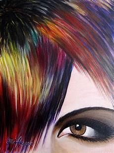 hair art original acrylic painting part of my series of