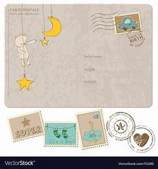 Baby Post Cards Baby Boy Arrival Postcard With Set Of Stamps Vector Image