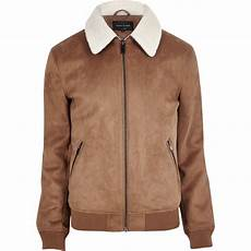 Light Brown Suede Jacket Mens River Island Tan Faux Suede Borg Collar Jacket In Brown