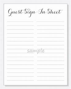 Guest Sign In Sheet Template Diy Guest Sign In Sheet Printable For A By