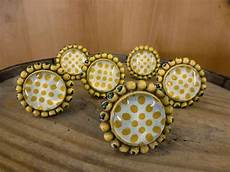 6 yellow sunflower glass drawer cabinet pulls knobs