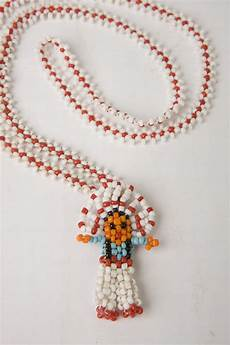 small seed bead american chief doll necklace