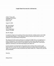 Sample Post Interview Thank You Letter Free 7 Sample Interview Thank You Letter Templates In Pdf