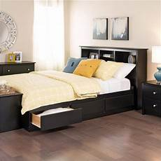xl platform bed with bookcase headboard 3 storage