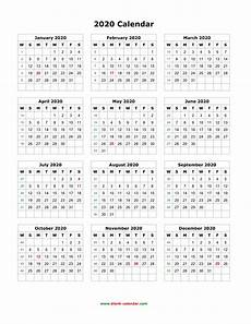 12 Months Calendar 2020 Printable Free Printable 12 Month Calendar 2020 Qualads