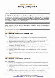 Leasing Specialist Resume Leasing Agent Resume Samples Qwikresume